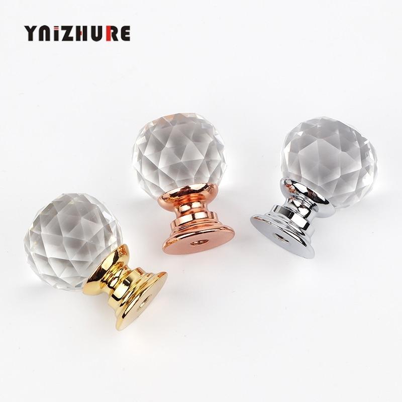 YNIZHURE Brand Design 20mm Crystal Ball Glass Knobs Cupboard Drawer Pull Kitchen Cabinet Door Wardrobe Handles Hardware