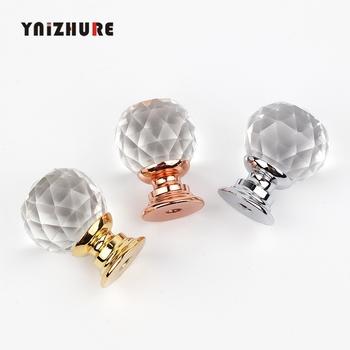 YNIZHURE marka projekt 20mm Crystal Ball szklane gałki szuflada do szafki Pull kuchnia drzwi do szafki uchwyty do szaf sprzętu tanie i dobre opinie Meble uchwyt i pokrętła Maszyny do obróbki drewna Szkło kryształowe Nowoczesne 2009 single hole