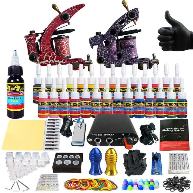 Solong Tattoo Complete Tattoo Kit for Beginner Starter 2 Pro Machine Guns 28 Inks Power Supply Needle Grips Tips TK204-39