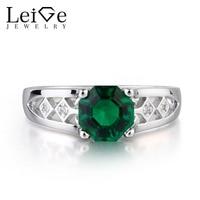 Лейдж Jewelry лаборатория создана изумрудно зеленый драгоценный камень Octagon Вырезать Юбилей кольца классические подарки для женщина может кам