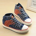 Free shipping new high-top heavy-bottomed muffin increased within the canvas shoes student shoes