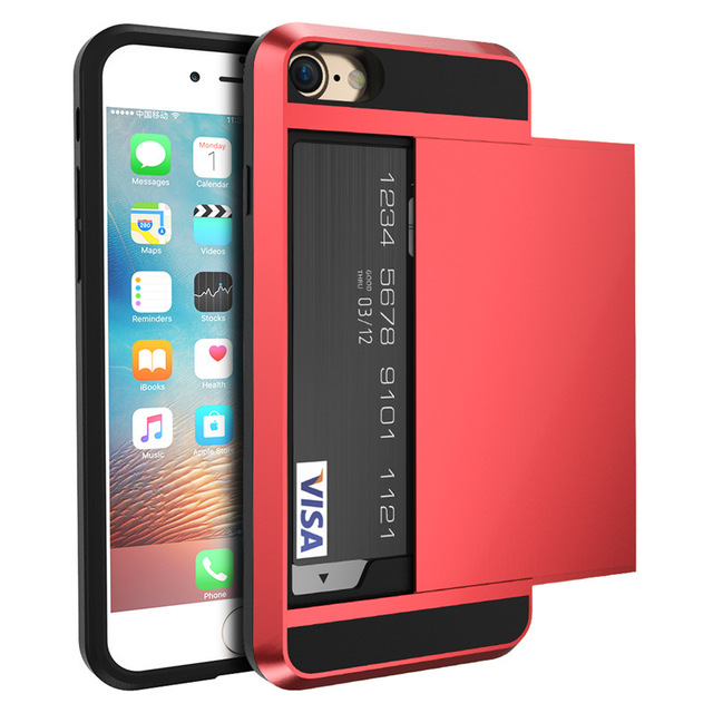 Credit Card Slot Armor Case For IPhone 6 7 8 6s Plus Clip Cases For IPhone 4 4S 5 5s X Ten 10 Slider Style 2 In 1 Cover Shell