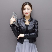New pink white leather women short Slim Spring leather jacket PU locomotive Korean version of the small jacket