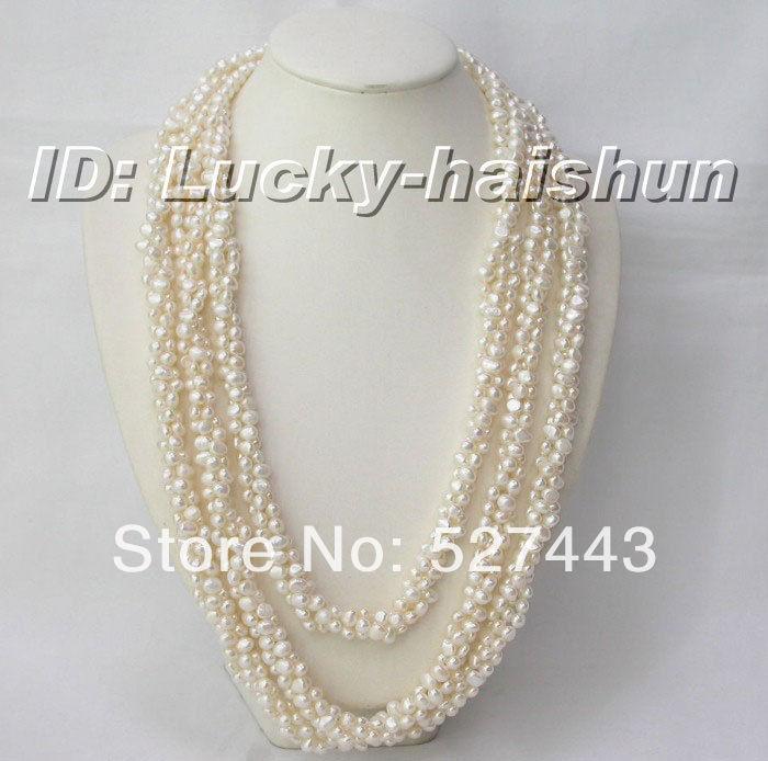 Wholesale free shipping >>Genuine 90 3row baroque white pearl necklaceWholesale free shipping >>Genuine 90 3row baroque white pearl necklace