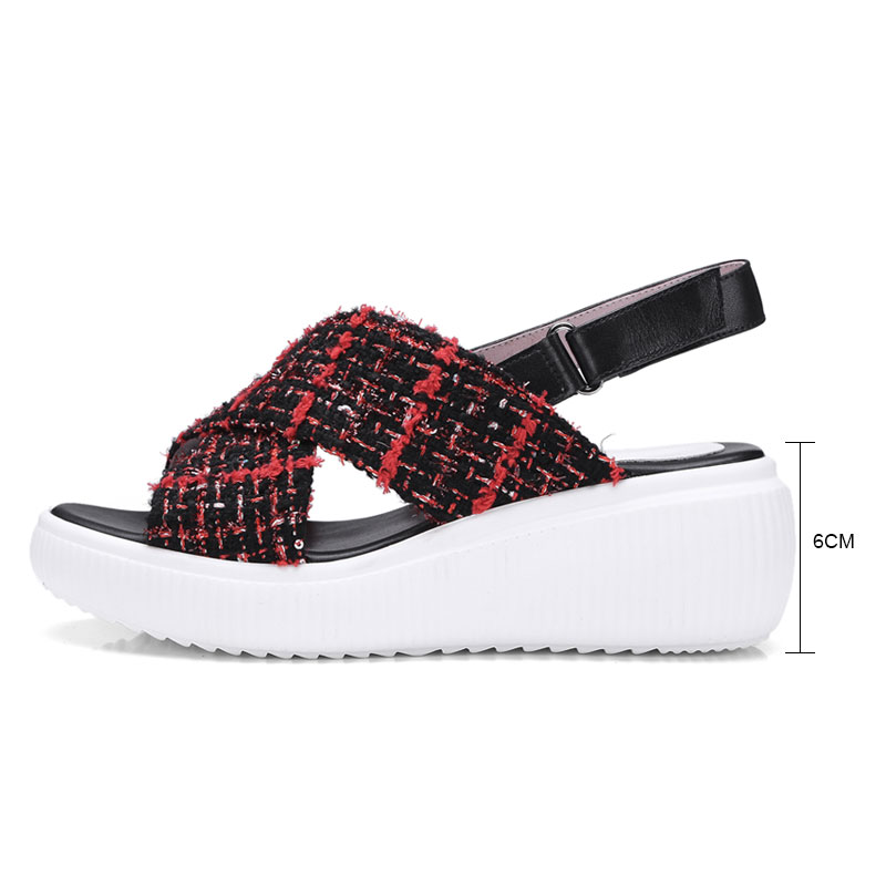 eb094001f10f Fanyuan New Arrivals Women s Summer Footwear Plaid Cloth Platform Shoes  Ankle Strappy Sandals Genuine Leather Casual Shoes