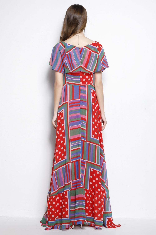 New Arrival 2018 Womens Slash Neckline Sleeveless Printed Ruffles A Line High Street Fashion Long Casual Holiday Dresses