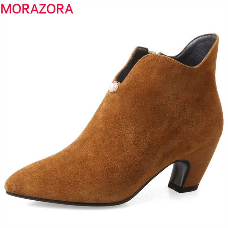 MORAZORA 2018 big size 34-42 suede leather winter boots pointed toe zipper ankle boots for women square heels shoes woman morazora ankle boots for women fashion shoes woman cow suede leather boots solid zipper platform womens boots size 34 40