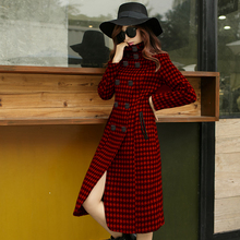 Fashion Women's Houndstooth Double Breasted Coat Medium-long Stand Collar Slim Outwear Winter Female Woolen Overcoat Oversize
