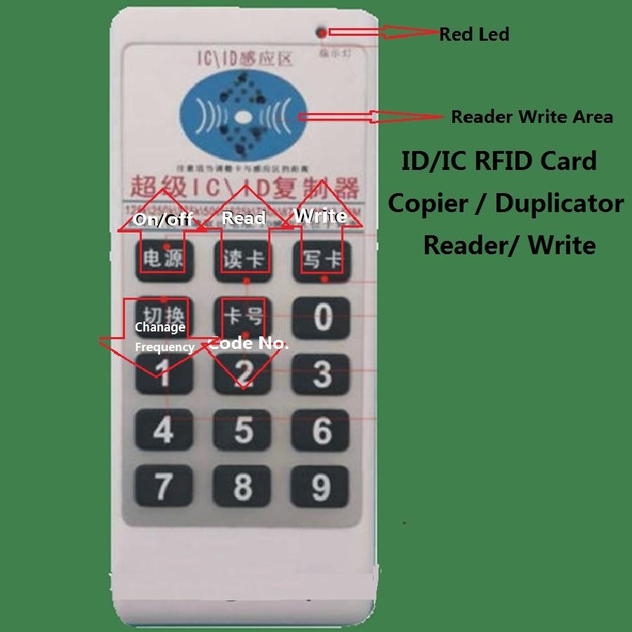 Handhold 125Khz / 13.56MHZ ID/ IC RFID Card Copier Duplicator Reader Write 9 Frequecny Compatible M4305 5200 8800 T5577 UID