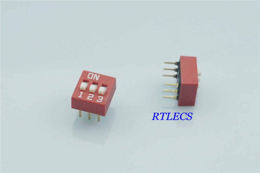 standard Actuator Raised Dip Switch 3 Way Motivated 100pcs Dip Switches Spst 3 Position 2.54mm 0.100 Pitch Through Hole Slide