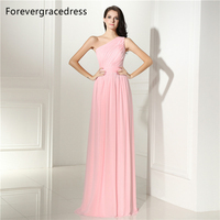 Forevergracedress Cheap Pink Bridesmaid Dress New Arrival One Shoulder Long Chiffon Wedding Party Gown Plus Size