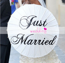 Free shipping 4pcs/lot Wedding Umbrella Just Married Printed Paper Parasol