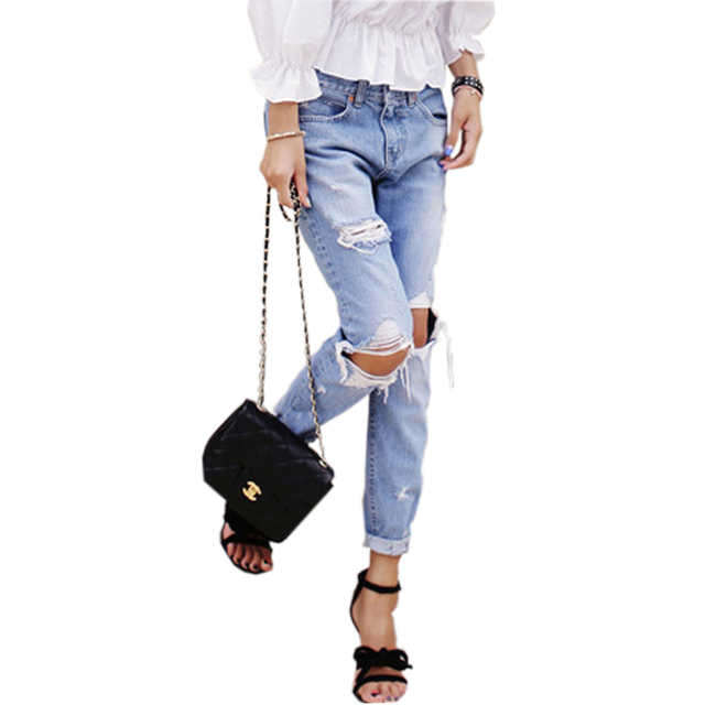 de mode New Ripped Jeans taille 2015 femmes mi Style Boyfriend trou d5HwppqxZ