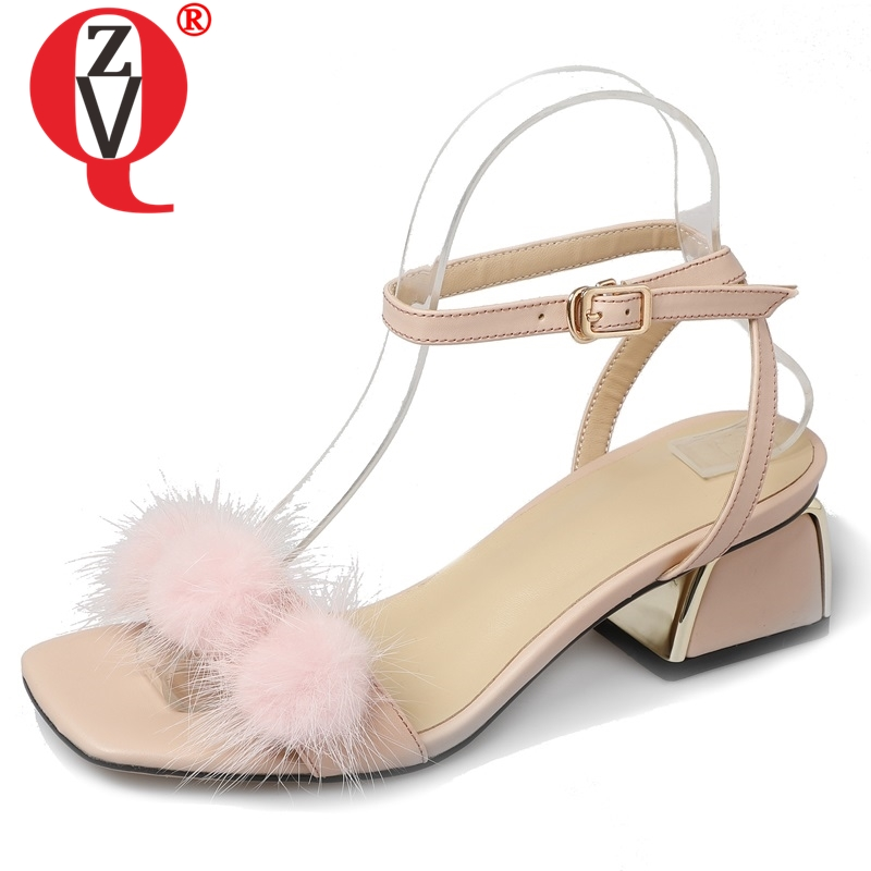 ZVQ Sweet girl leather sandals summer cute pink beige real fur ball decoration fashion wedding party 5 cm med heels shoesZVQ Sweet girl leather sandals summer cute pink beige real fur ball decoration fashion wedding party 5 cm med heels shoes
