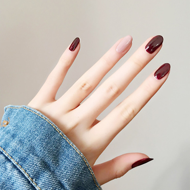 Almond fake Nails Solid colorJump color Diy Nail Art 10 style Medium ...