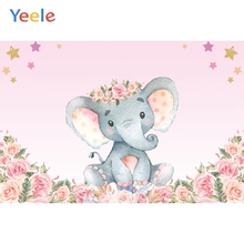 Yeele Pink Flower Elephant Baby Shower Photography Backgrounds Children Birthday Party Photographic Backdrops For Photo Studio