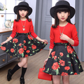Spring /autumn long sleeve white red dresses for girls size 120~160 teenage dress 10 12 years old flowers clothing