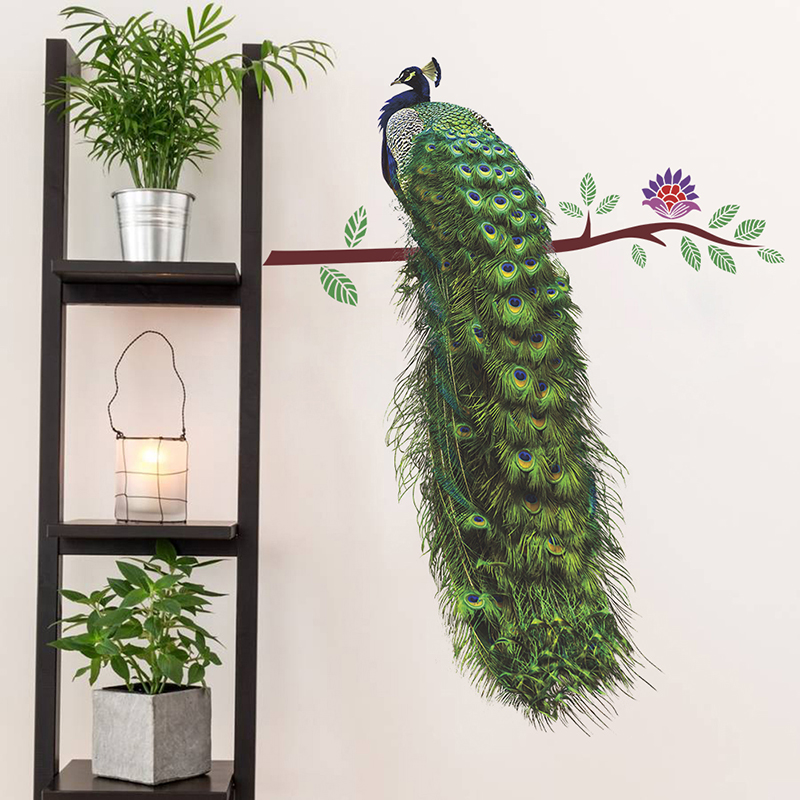 Animals Peacock On Branch Feathers Wall Stickers 3d Vivid Living Room Wall Decor