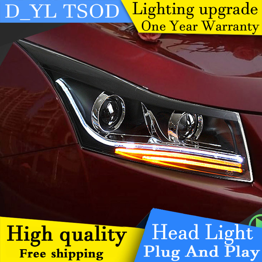 Car Styling Headlights for Chevrolet Cruze 2009 2014 LED Headlight Head Lamp LED Daytime Running Light