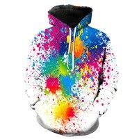 새로운 패션 멋진 3D 인쇄 다채로운 페인트 후드 긴 소매