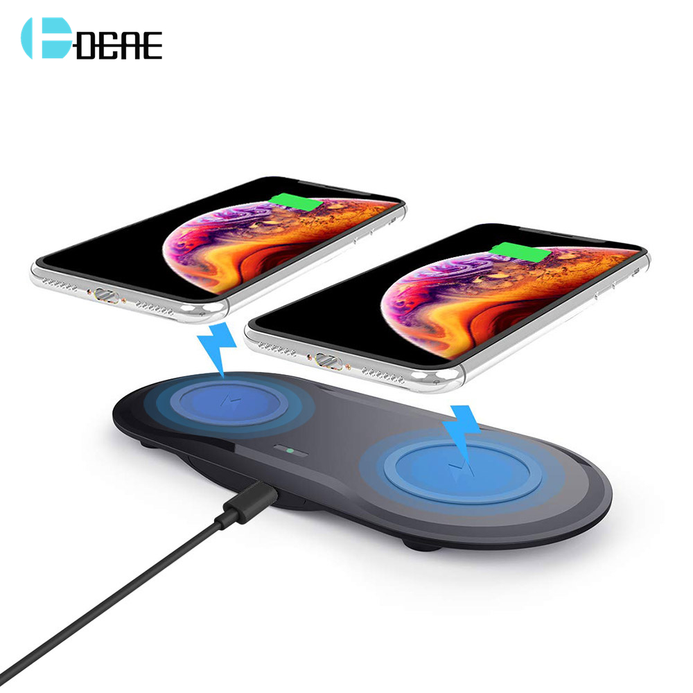 20W Fast Wireless Desktop Charging Station For Samsung S10 S9 S8 10W Dual Qi Wireless Charger Pad For Apple IPhone XS XR 8 Plus(China)