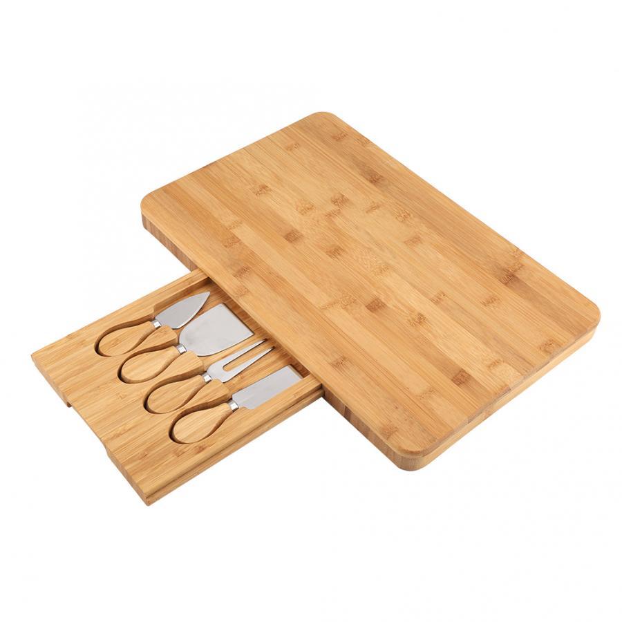 Deska do krojenia bambusa ze zintegrowanym specjalność sztućce fach na narzędzia deska do sera 39.5X27.5X2.7cm w Deski do krojenia od Dom i ogród na