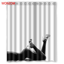 WONZOM Charming Girl Curtains with 12 Hooks For Bathroom Decor Modern Bath Waterproof Curtain 2017 New Accessories