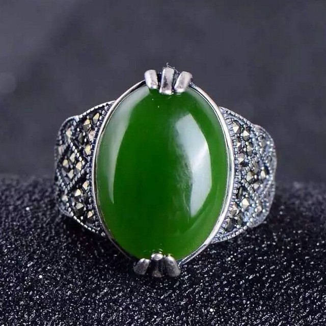 925 silver natural Hetian jade ring jasper gemstone