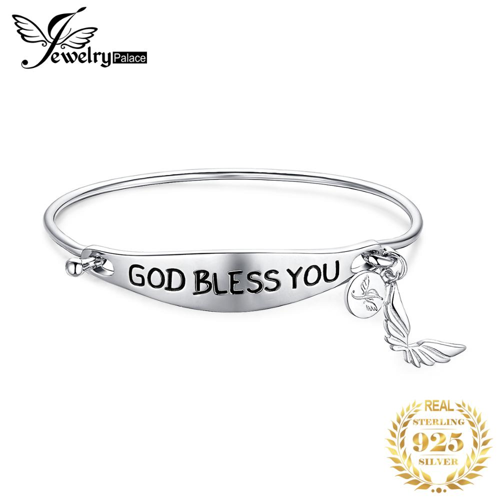 JewerlyPalace Personalized Hand Stamped God Bless You Dangle Butterfly 925 Sterling Silver ID Bangle Bracelet For