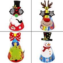 цена на Christmas hat children's paper decorative hat Santa Claus antlers  party Christmas masquerade decorations