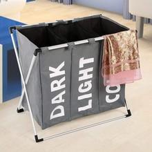 Folding Laundry Basket Hamper Washing Storage Bag 3 Section Foldable Fabric Waterproof Cloth organizer