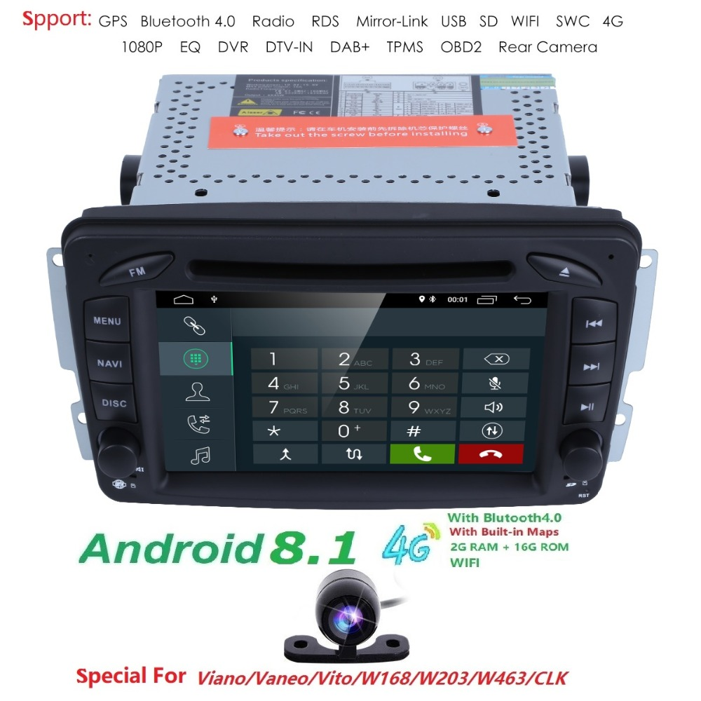Android8.1 CarDVD Radio Lecteur GPS Wifi pour Mercedes/Benz W203 Viano Vito W639 W638 W168 W210 C180 C200 C220 c230 C240 C270 C320