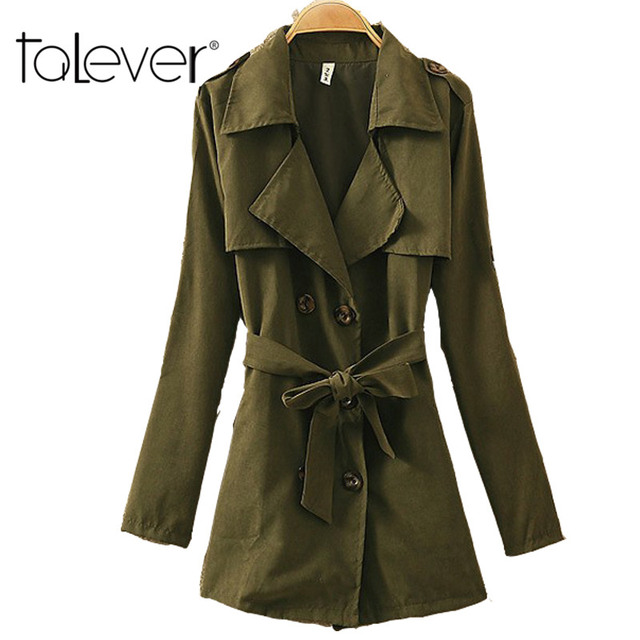 2016 New Autumn Women Trench Coat Long Sleeve Slim Adjustable Waist Overcoat Turn-down Collar Outwear Double Breasted Trench