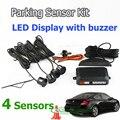 Car LED Parking Sensor Kit 4 Sensors 22mm Backlight Display Reverse Backup Radar Monitor System 12V 7 Colors Free Shipping