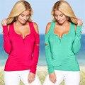 Женщины Повседневная С Длинным Рукавом Тис 2016 Новый Blusas Мода Майка Sexy V-образным Вырезом С Плеча Solid T-Shirt