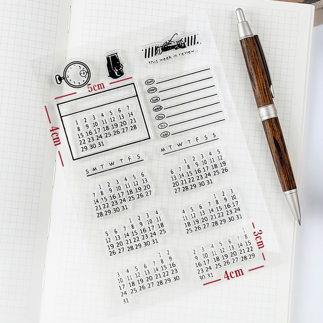 Perpetual Calendar Date Transparent Clear Silicone Stamp DIY Scrapbooking Photo Album Decorative