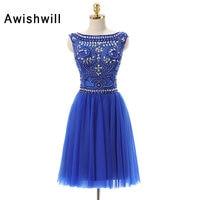 Vestido De Festa Curto De Luxo Cap Sleeve A line Beadings Tulle Homecoming Dress Short Royal Blue Cocktail Dresses 2018