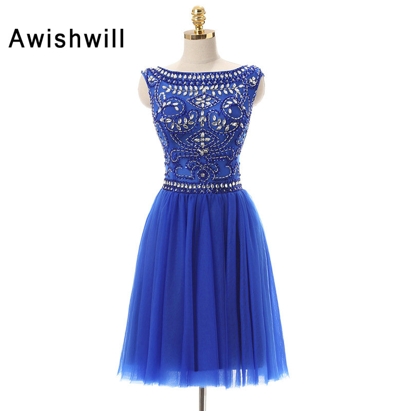 Vestido De Festa Curto De Luxo Cap Sleeve A-line Beadings Tulle Homecoming Dress Short Royal Blue Cocktail Dresses 2017