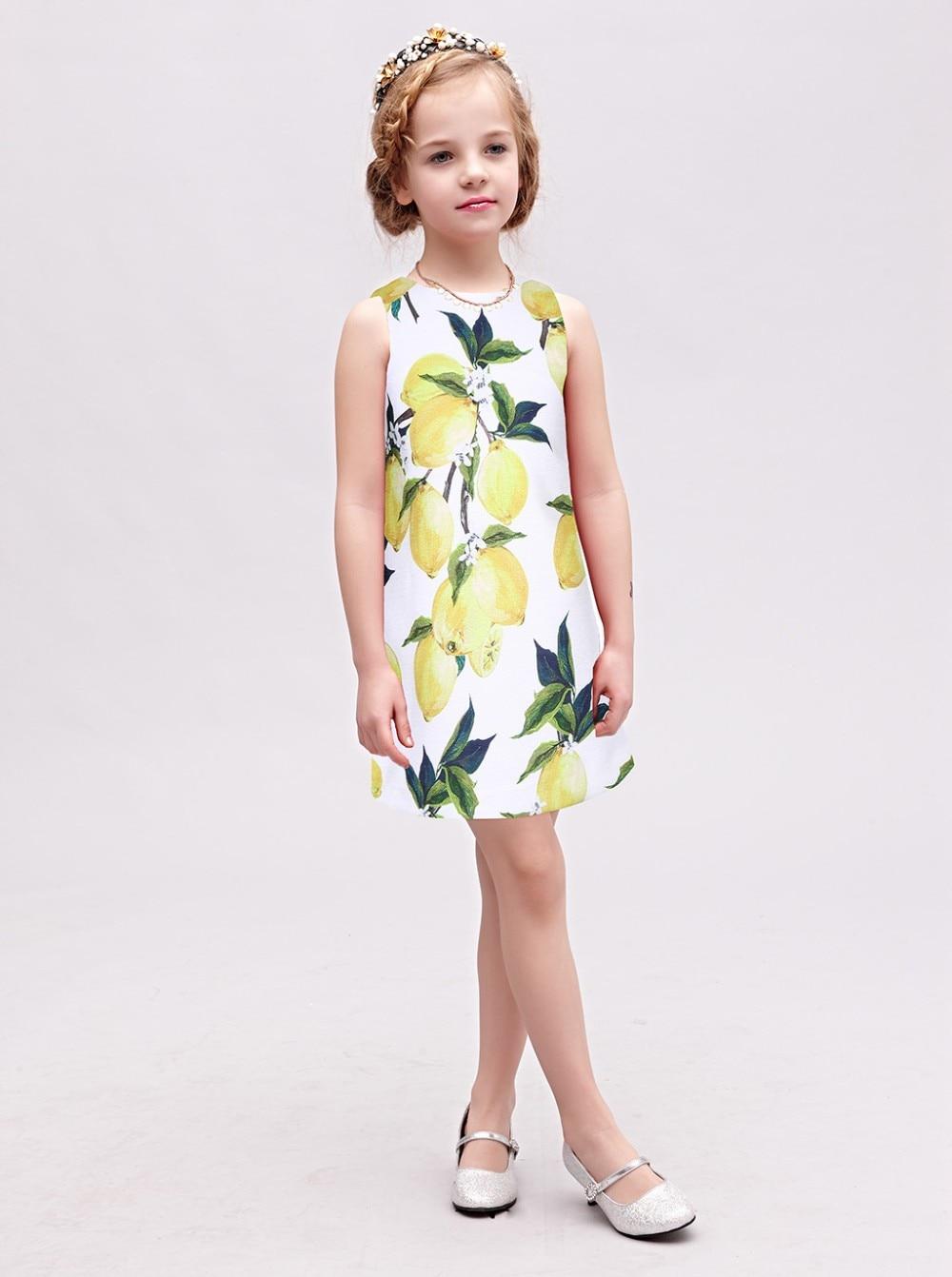 WL MONSOON Baby Girl Dress Brand Girls Summer Dress Kids Costume With Lemon Floral Print Wedding Dress Girl Vetement Fille 3-12Y w l monsoon baby girls autumn dress long