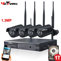 Wetrans Wireless Security Camera System 4CH P2P HD 960P 20m Night Vision Waterproof Outdoor Surveillance Wifi Camera NVR kit