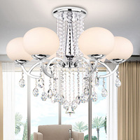 Característica galvanizada moderna/contemporânea para a sala de estar do metal de cristal/sala de jantar 6 cabeças Luzes de teto     -