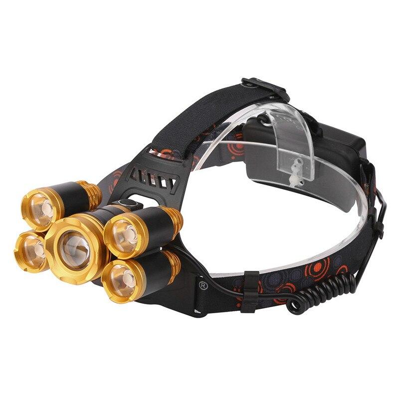 Lampe de poche à Vélo Vélo Vélo Head Light Front Vélo Lumière 5x XM-L LED Rechargeable 18650 USB Projecteur Head Light Zoomale