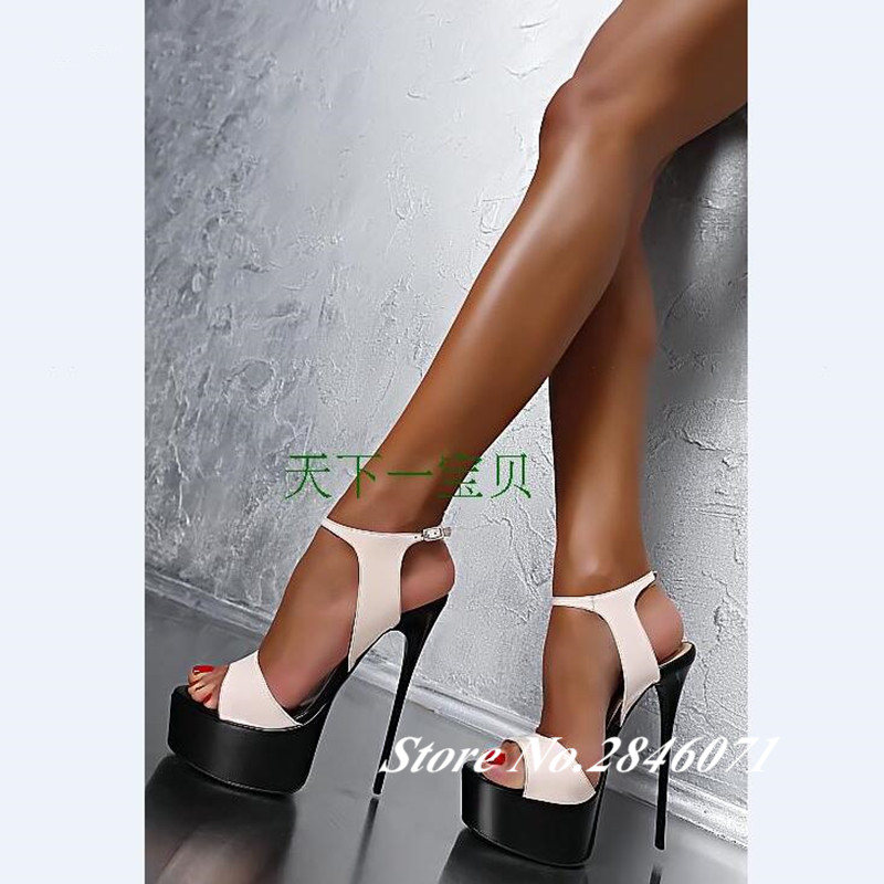 Eunice Choo Summer New Women Ultra High Heel Sandals 16cm Sexy Stripper Shoes Party Pumps Shoes Women Gladiator Platform Sandals stylesowner 2018 summer beach women sandals lace high heel shoes see through gladiator women sandals sexy casual sandals shoes