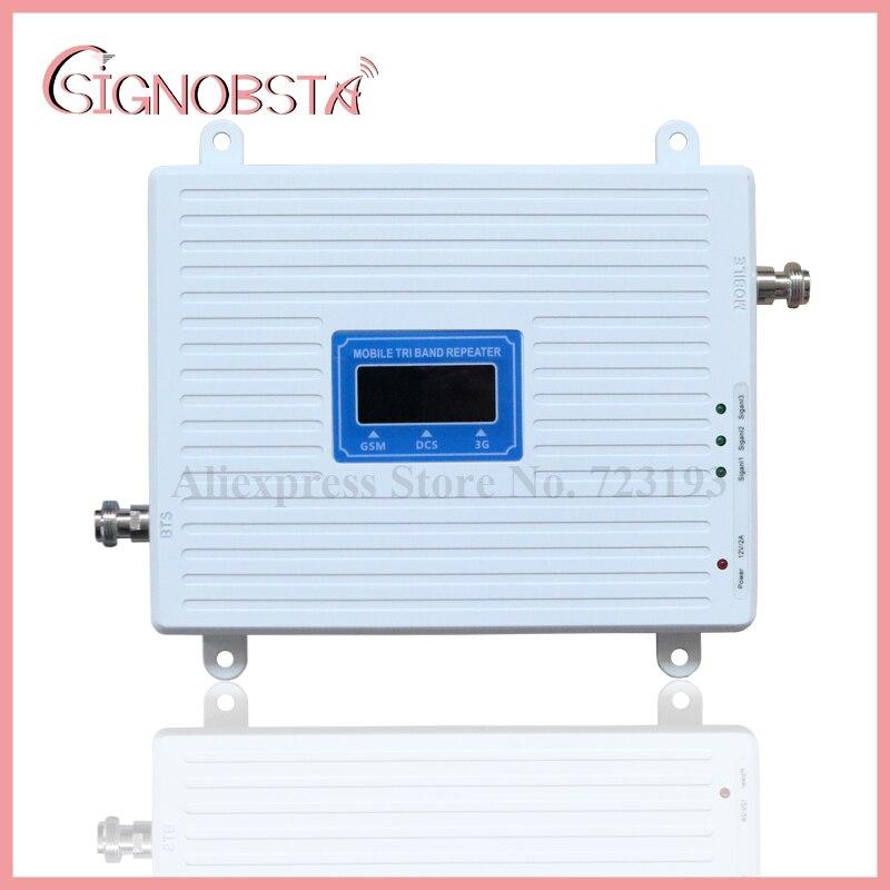 Alta Ganancia 70dB celular 2G 3G 4G Triband repetidor gsm900 dcs1800 w-cdma2100 mHz Booster amplificador 2018 al por mayor