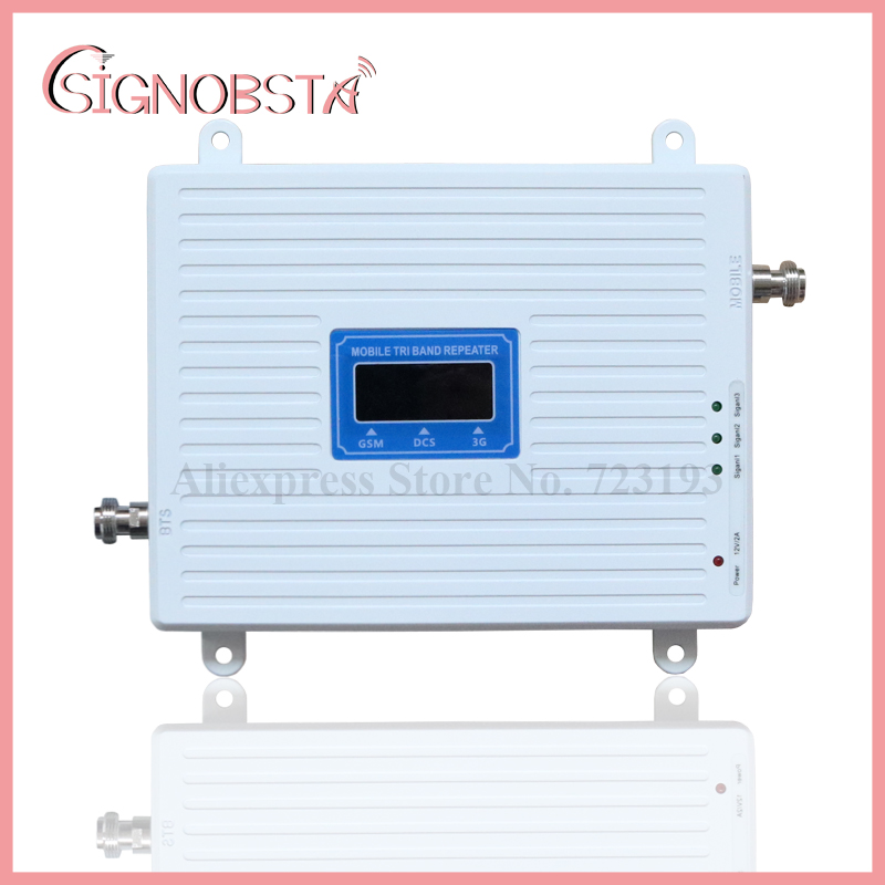 High Gain 70dB Handy 2g 3g 4g Triband Repeater gsm900 dcs1800 w-cdma2100 mHz Booster Verstärker 2018 Großhandel