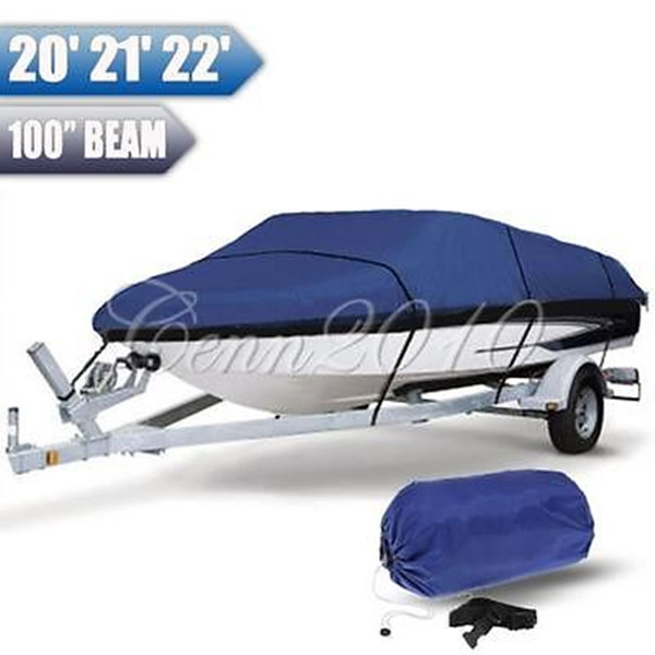 Heavy Duty Fishing Ski Runboat Boat COVER 20 22 Ft 100inch Beam V Hull Waterproof Blue