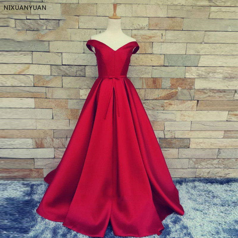 Elegant Off The Shoulder Red Party Gown Satin Sexy   Prom     Dress   High Slit Plus Size   Prom     Dresses   2019 Long Vestido Fiesta