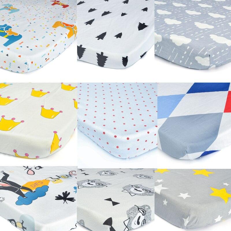 EGMAOBABY 100% algodón cuna equipada hoja suave bebé colchón de la cama Protector de la cubierta de dibujos animados bebé recién nacido Ropa de cama cuna tamaño 130*70 cm