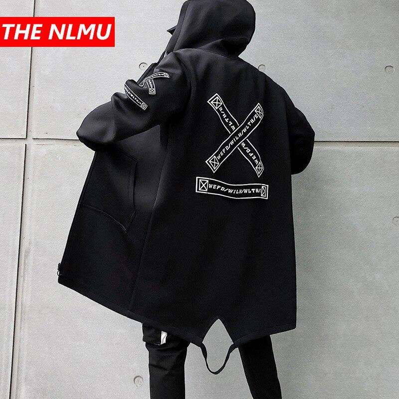 9f574a39 Длинная куртка для мужчин печати Мода 2019 Весна Harajuku ветровка пальто  мужской Повседневная Верхняя одежда хип