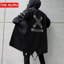 Jaqueta longa masculina impressão moda 2019 primavera harajuku blusão casaco masculino casual outwear hip hop streetwear casacos wg198